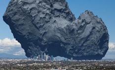 Comparan tamaño del cometa de la sonda Rosetta con ciudad estadounidense